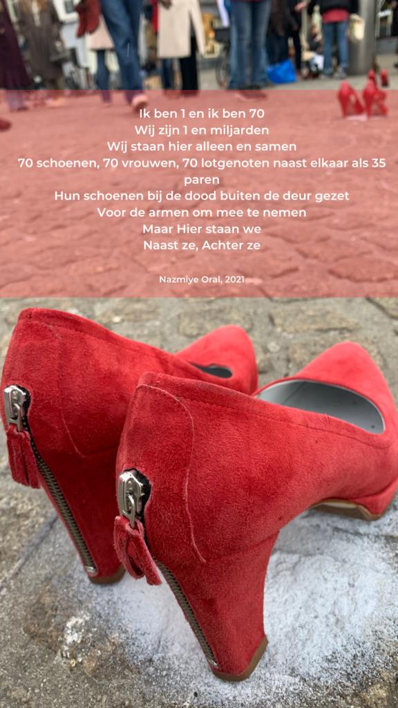 gezicht Nazmiye Oral op afbeelding rode schoen op de dam